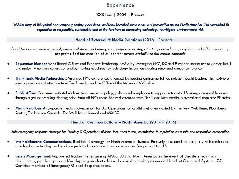 resume work history sample