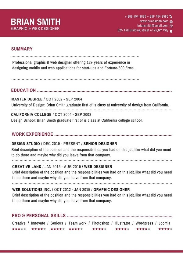 sample of updated resume with modern format